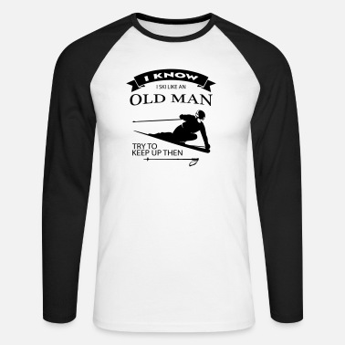 Old Ski Father - Old Man Retiree - design color selectable - Men's Longsleeve Baseball T-Shirt
