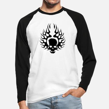 Burning Skull - Men's Longsleeve Baseball T-Shirt
