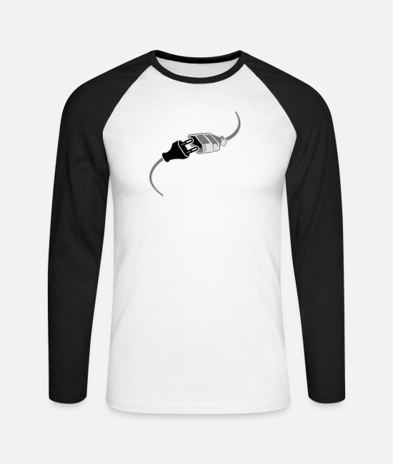 Computer Long sleeve shirts - connection plug socket plug power extension cable - Men's Longsleeve Baseball T-Shirt white/black