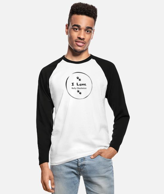 Obedience Long-Sleeved Shirts - I love Rally Obedience - Men's Longsleeve Baseball T-Shirt white/black