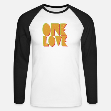 Typography One Love, typography - Mannen baseball longsleeve