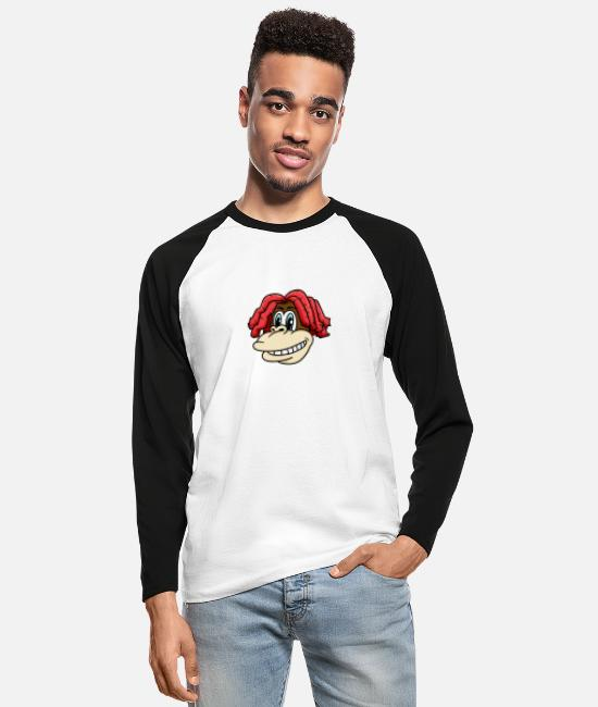 Easter Long-Sleeved Shirts - Monkey head with cool hairstyle for lovers & kids - Men's Longsleeve Baseball T-Shirt white/black