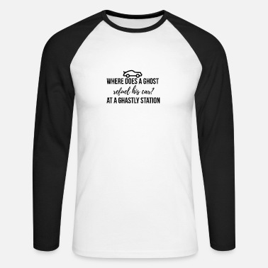 Ghastly Where does a ghost refuel his car? - Men's Longsleeve Baseball T-Shirt