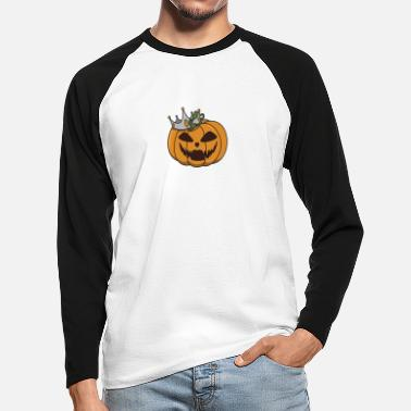 Halloween pumpkin gift costume crown funny - Men's Longsleeve Baseball T-Shirt