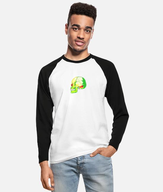 Skull Long-Sleeved Shirts - skull bright - Men's Longsleeve Baseball T-Shirt white/black