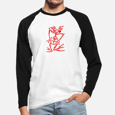Pictogram pictogram 6 rood - Mannen baseball longsleeve