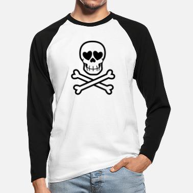 Eros & Thanatos Skull and Crossbones by Cheerful - Men's Longsleeve Baseball T-Shirt