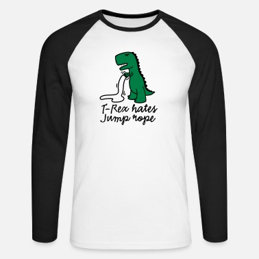 Funny Gym T-Rex hates jump rope - Men's Longsleeve Baseball T-Shirt