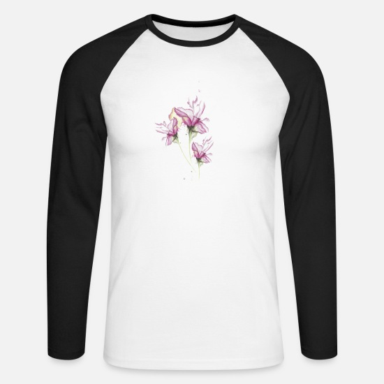 Nature Collection Long Sleeve Shirts - Watercolor Lilies Tattoo - Men's Longsleeve Baseball T-Shirt white/black