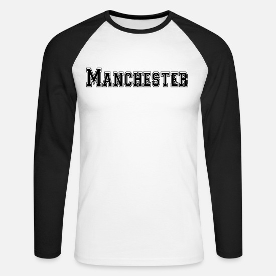 United Long sleeve shirts - Manchester - Men's Longsleeve Baseball T-Shirt white/black