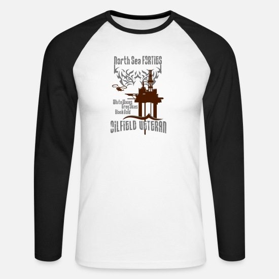 Oil Rig Long sleeve shirts - Forties Oil Rig Oil Field Platform - Men's Longsleeve Baseball T-Shirt white/black