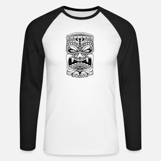 Bbq Long sleeve shirts - Tiki Tiki Polynesian T-Shirts - Men's Longsleeve Baseball T-Shirt white/black