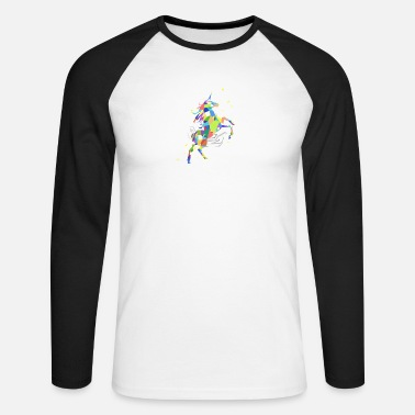 Enhjørning Unicorn Polygon Rainbow Colored Unicorn - Langærmet baseballshirt mænd