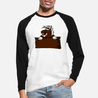 Holzschild holzschild funny comic cartoon horse wall shield t - Men's Longsleeve Baseball T-Shirt