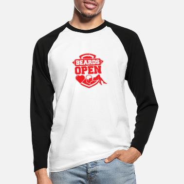 Open Beards Open - Langermet baseball-T-skjorte for menn