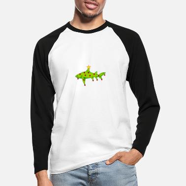 Shape Shark Funny Merry Christmas - Christmas - Shark - Santa Klaus - Men's Longsleeve Baseball T-Shirt