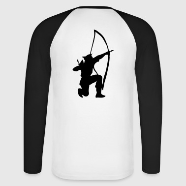 archer longbow kneeling stance by patjila - Men's Long Sleeve Baseball T-Shirt