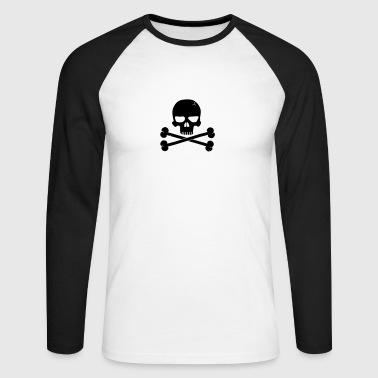 Crossbones Skull - Men's Long Sleeve Baseball T-Shirt