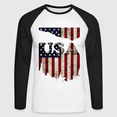 usa_grunge3 - Men's Long Sleeve Baseball T-Shirt