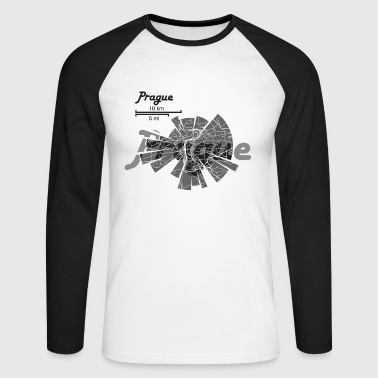 Prague Map - Men's Long Sleeve Baseball T-Shirt