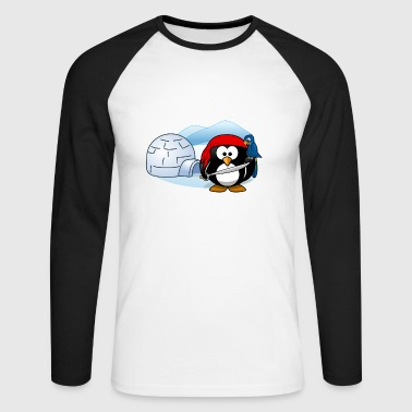 Pirate penguin with sword, parrot and igloo. - Men's Long Sleeve Baseball T-Shirt