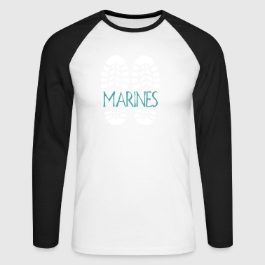 Marines. Color choice. Add your text - Men's Long Sleeve Baseball T-Shirt