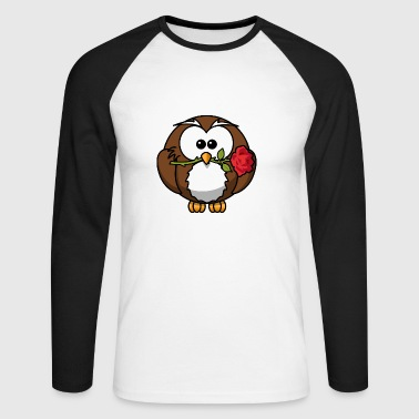 Owl with rose - Men's Long Sleeve Baseball T-Shirt