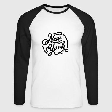 New York, Vintage style lettrage noir - T-shirt baseball manches longues Homme