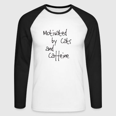 Motivated cat and coffe - Men's Long Sleeve Baseball T-Shirt