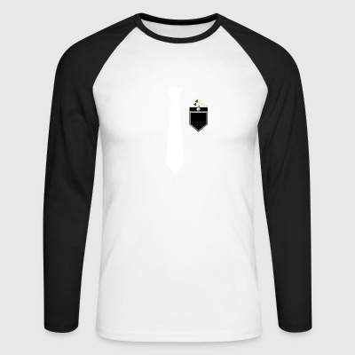 Shirt and suit with tie and poker card cross - Men's Long Sleeve Baseball T-Shirt
