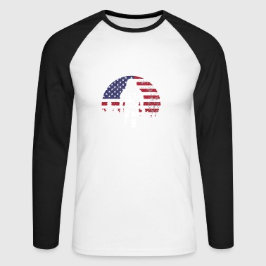 Astronaut USA moon flag - Men's Long Sleeve Baseball T-Shirt