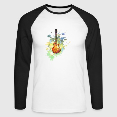 Guitar splash - Men's Long Sleeve Baseball T-Shirt