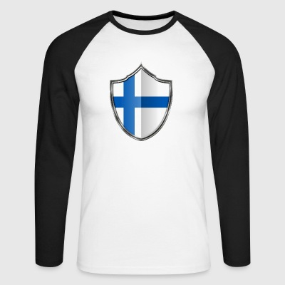 Finland Flag Coat of Arms Silver 015 - Men's Long Sleeve Baseball T-Shirt