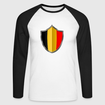 Belgium Flag Coat of Arms Silver 015 - Men's Long Sleeve Baseball T-Shirt