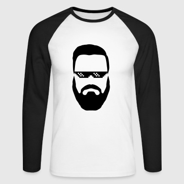 Hipster deal with it Brille Vollbart Nerd swag - Men's Long Sleeve Baseball T-Shirt