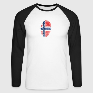 Fingerprint i love NORWAY norway denmark - Men's Long Sleeve Baseball T-Shirt