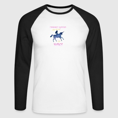 Unicorn queens are born in March - Men's Long Sleeve Baseball T-Shirt
