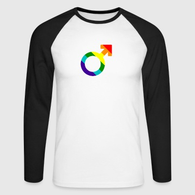 Gay pride rainbow men symbol - Men's Long Sleeve Baseball T-Shirt