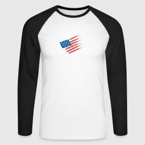 USA America Flag Stars and Stripes - Mannen baseballshirt lange mouw