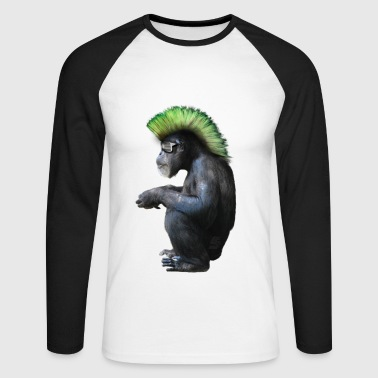 chimpanzé néo punk by customstyle - T-shirt baseball manches longues Homme