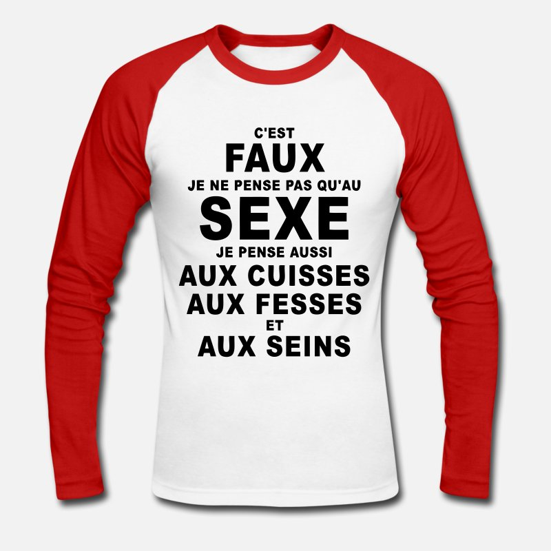 Citations Manches longues - sexe humour - T-shirt manches longues baseball Homme blanc/rouge