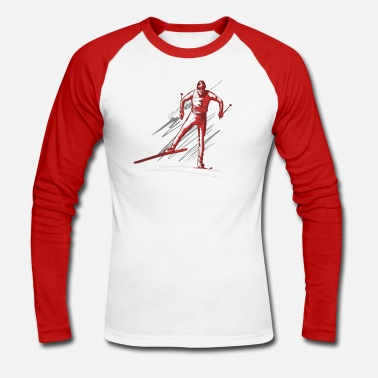 Country cross - country ski - Langermet baseball-T-skjorte for menn