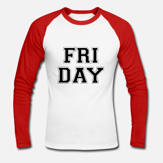 Birthday Long Sleeve Shirts - FRIDAY - Men's Longsleeve Baseball T-Shirt white/red
