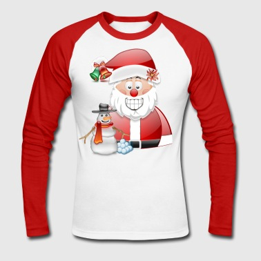 Father Christmas and Snowman - Men's Long Sleeve Baseball T-Shirt