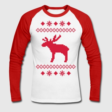 moose caribou reindeer deer christmas norwegian knitting pattern rudolph rudolf winter snowflake sno - Men's Long Sleeve Baseball T-Shirt
