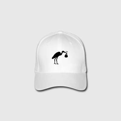 Stork with Baby Maternity Mum with baby bump - Flexfit Baseball Cap