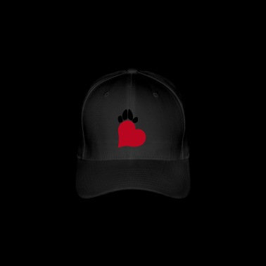 Heart and paw - red and black - Flexfit Baseball Cap