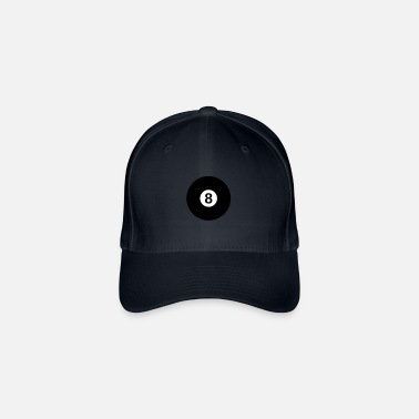 black billiard ball with the number 8 - Flexfit Baseball Cap