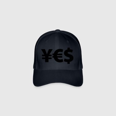 YES Yen Euro Dollar I love Money Money Wealth - Flexfit Baseball Cap