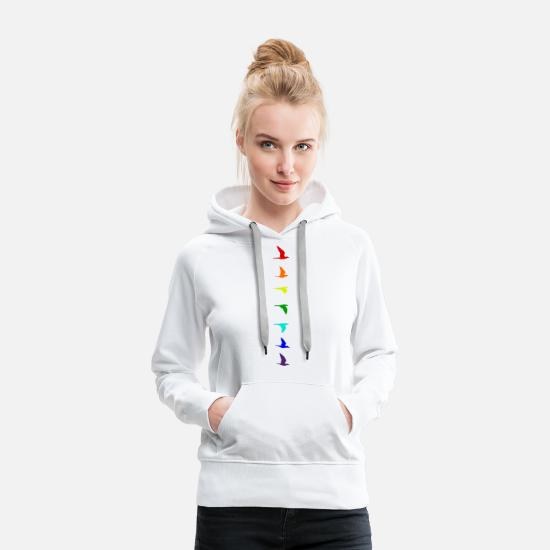Symbol Pullover & Hoodies - Rainbow flight of birds colourful LGBTIQA+ LGBTQ - Frauen Premium Hoodie Weiß